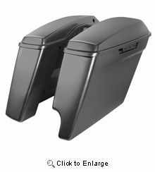 """'14-Present Harley 2-Into-1 Touring 4"""" Stretched Saddlebags Charcoal Pearl"""