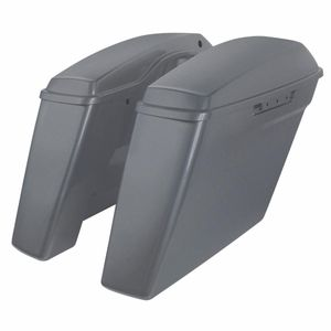 """'14- Present Harley No Cut Touring 4"""" Stretched Saddlebags Charcoal Denim"""