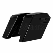 "'14-Present 2-Into-1 Extended 4"" Stretched Saddlebags Harley  - Vivid Black"