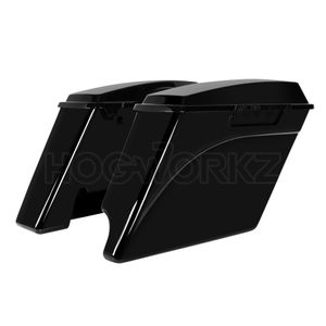 "'94-'13 2-Into-1 Extended 4"" Stretched Saddlebags Vivid Black"