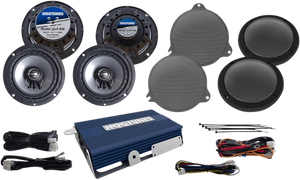 "Hogtunes 200 Watt 4-Channel Amplifier with 6.5"" Front & Rear Speaker Kit for Ultra and Ultra Limited"