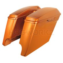 "'14- Present 4"" Stretched Saddlebags for Harley - Amber Whiskey"