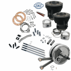"93"" Sidewinder� Big Bore Stroker Kit for 1970-'84 HD� Big Twins - GlossBlack Finish"