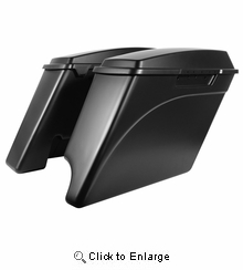 """'94-'13 Harley 2-Into-1 Touring 4"""" Stretched Saddlebags UNPAINTED"""