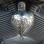 Aged Aluminum Angel Wing Heart