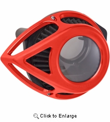 Arlen Ness Clear Tear Air Cleaner- Anodized Red