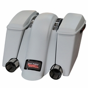 BaggerNation Swoop Fender- Dual Outlet- For Swoop Saddlebags- No Lights W/Black Stealth  2 Frame