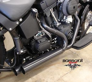 Bassani PRO-STREET BLACK For Softail