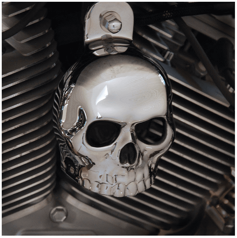 Chrome Skull with Black Eyes