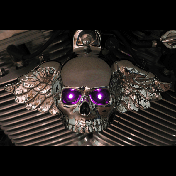 Chrome Winged Skull with LED Lighted Eyes