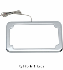 Cycle Vision Beveled License Plate w/ Lights-Chrome