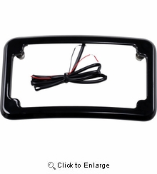 Cycle Visions Beveled License Plate w/ Lights-Black