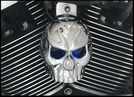 Evil Twin Chrome Skull Horn Cover With LED Eyes