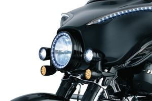 Fairing Mounted Driving Lights with Turn Signals- Black