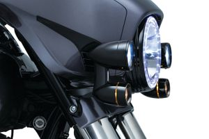 Fairing Mounted Driving Lights with Turn Signals for '14-'17 Electra Glide & Street Glide-BLACK