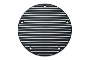Kuryakyn  Finned Derby Cover - Satin Black & Machined