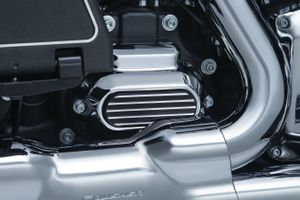 Finned Transmission Cover Accent for Twin Cam - Satin Black & Machined