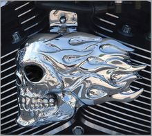 Flaming Skull - Chrome