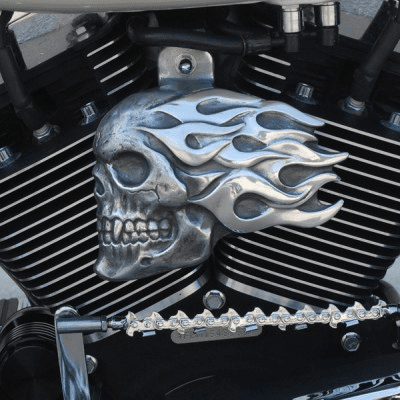 Flaming Skull Horn Cover - Aged Aluminum