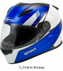 GMAX - YOUTH GM-49Y FULL-FACE DEFLECT HELMET WHITE/BLUE