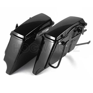 "Harley Softail Conversion Bracket Kit with 4"" Dual Cut Stretched Saddlebags"
