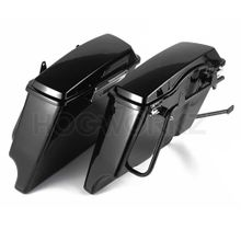 """Harley Softail Conversion Bracket Kit with 4"""" Dual Cut Stretched Saddlebags"""