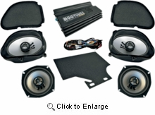 """Hogtunes 160 Watt 4-Channel Amp with 5 x 7"""" Front & 5.25"""" Rear Speaker Kit for Road Glide"""