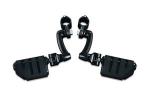 "Longhorn Offset Highway Pegs with Trident Dually & 1-1/4"" Magnum Quick Clamp - Gloss Black"