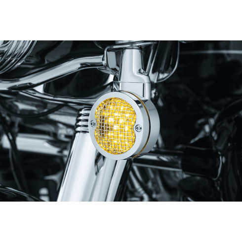 Mesh Bezels for H-D Flat Style Turn Signals- Chrome