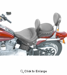 Mustang - Wide Studded Seat - Driver's Backrest - Softail '00-'05 FXST, '00-'06 FLST/C/N