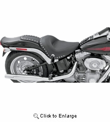 Mustang - Wide Studded Solo Seat - Softail '06-'10 FXST, '07-'17 FLSTF/B, '08-'11 FLSTSB
