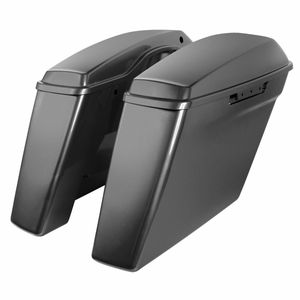 """'14- Present Harley No Cut Touring 4"""" Stretched Saddlebags Charcoal Pearl"""