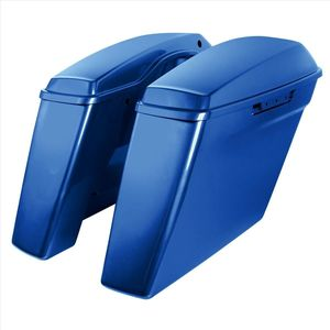"""'14- Present Harley No Cut Touring 4"""" Stretched Saddlebags Superior Blue"""