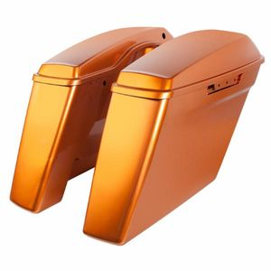 """'14-Present Harley No Cut Touring 4"""" Stretch Saddlebags Amber Whiskey"""