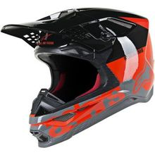 Alpinestars (MX) - Supertech M8 Helmet - Radium - MIPS - Red Fluo/Black/Mid Gray Glossy