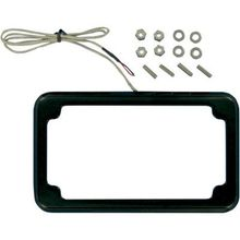 Cycle Vision Beveled License Plate w/ Lights-Black