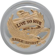 Drag Specialties - Live To Ride Gas Cap - Chrome With Gold - Vented