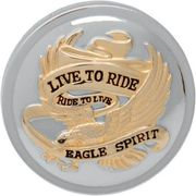 Drag Specialties - Live To Ride Gas Cap - Chrome With Gold - Non-Vented