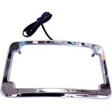 Cycle Visions Beveled License Plate w/ Lights-Chrome