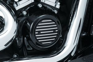 Kuryakyn Finned Timing Cover for Milwaukee-Eight® -  Satin Black & Machined