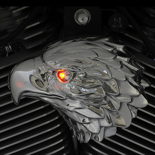Polished Aluminum Bald Eagle with LED Eye