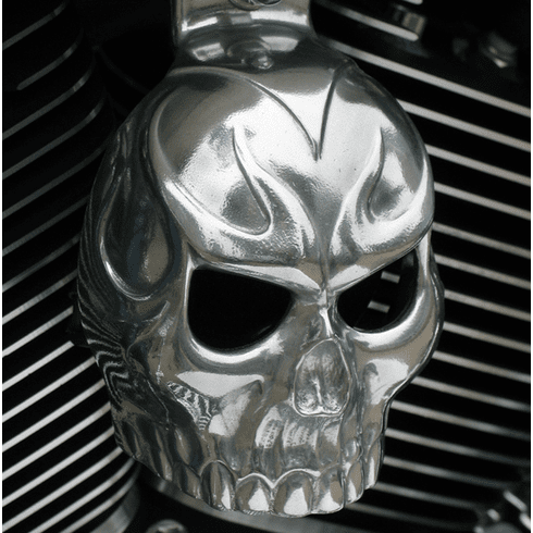 Polished Aluminum Evil Twin Skull