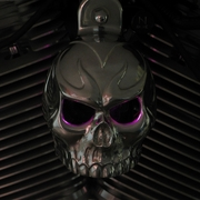Polished Aluminum Evil Twin Skull with LED