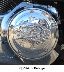 Polished Aluminum Liberty Eagle Derby Cover