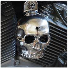 Polished Aluminum Skull with Bullet Hole