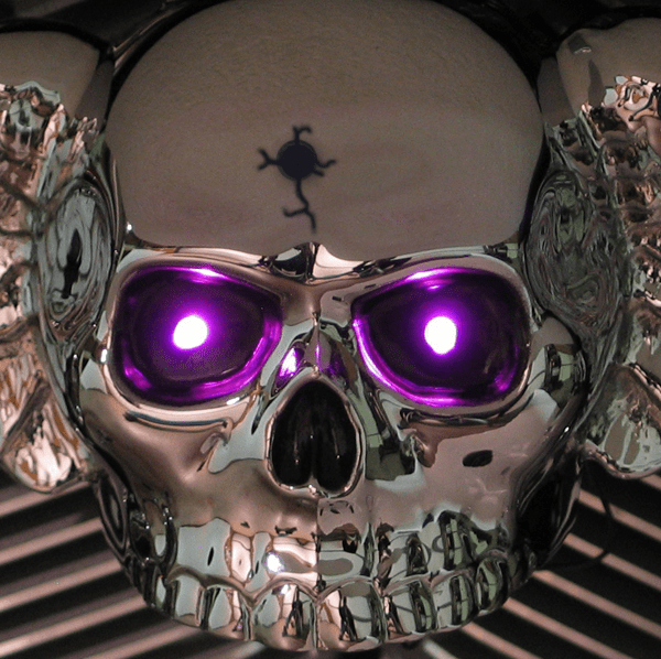 Polished Aluminum Winged Skull with Bullet Hole LED Eyes