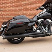 S&S Cycle Sidewinder® 2-1 Exhaust System, Black with Black Highlighted Machined End Cap for 2007-16 FL