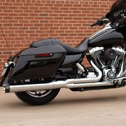 S&S Cycle Sidewinder® 2-1 Exhaust System, Chrome with Black Highlighted Machined End Cap for 2007-16 FL