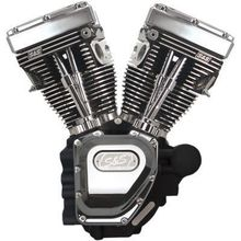 S&S Cycle T111 Long Block Engine- Wrinkle Black/Chrome