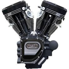 S&S Cycle T124LC Series Long Block Engine- Black